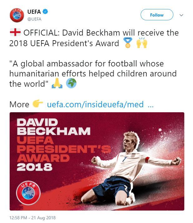 小贝获欧足联大奖 系第三位赢得该奖项的英国足球界人士