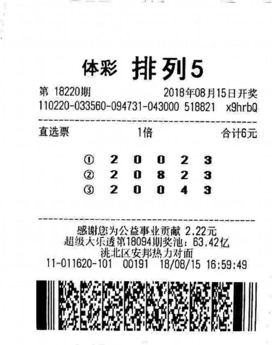 """零钱购彩中奖 吉林白城彩友喜中""""排列五""""10万元大奖"""