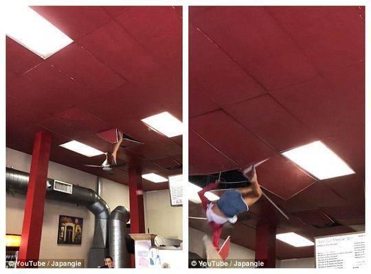 女子从天花板掉下 疑似吸食了毒品