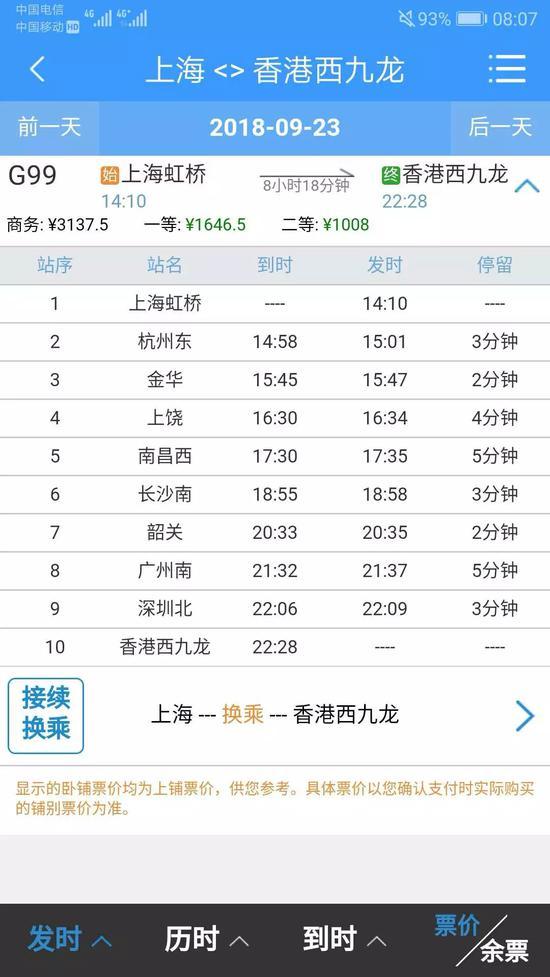 上海香港高铁开售 单程只需8小时17分
