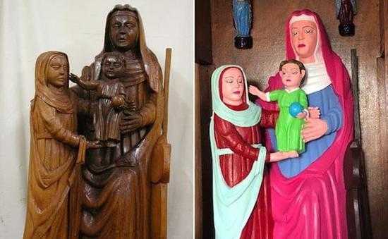 西班牙现毁容式文物修复 圣母圣子像成乐高