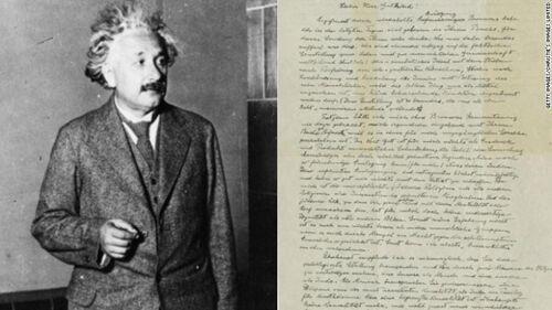 爱因斯坦的亲笔信将于12月在纽约拍卖