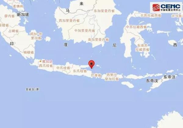 巴厘海发生6.0级地震 震源深度20千米
