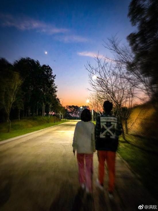 洪欣张丹峰牵手散步 两人看起来十分恩爱