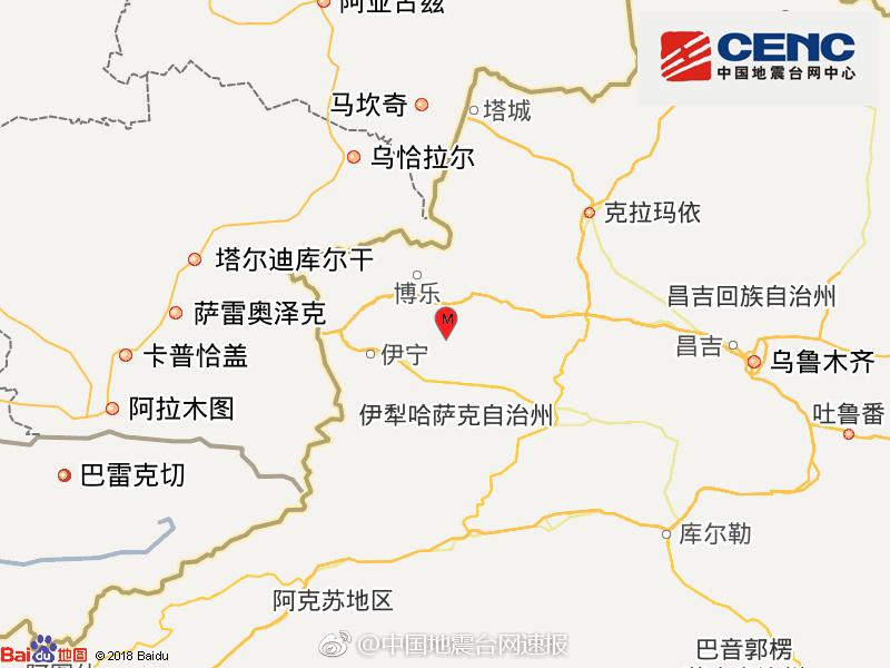 新疆精河县发生3.0级地震 震源深度10千米