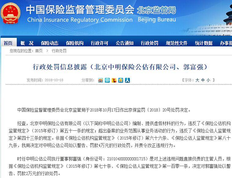 北京中明保险公估有限公司编制、提供虚假材料被罚4万元