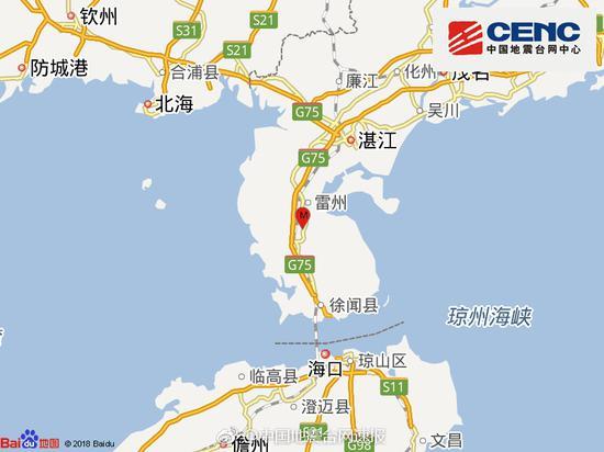 广东湛江发生3.1级地震 震源深度15千米
