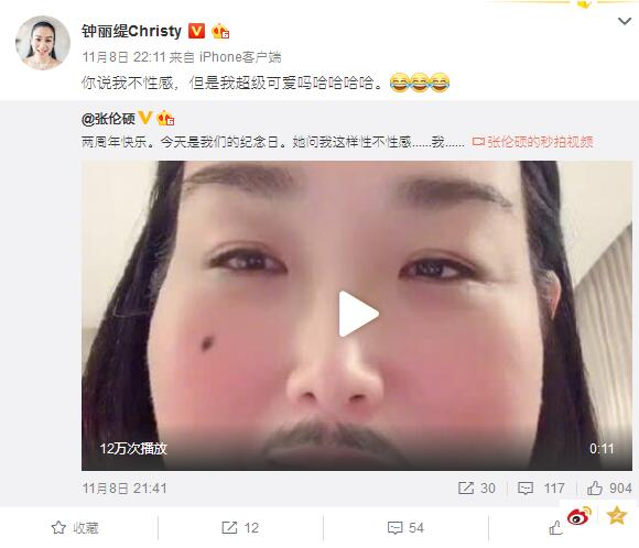钟丽缇结婚两周年 张伦硕上传两人恶搞视频大秀恩爱