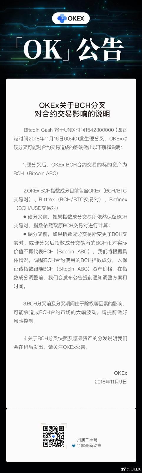 OKEx发布比特币现金分叉说明 站队Bitcoin ABC
