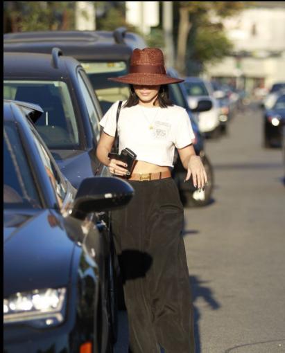 凡妮莎·哈金斯洛杉矶街拍 Trunk Ltd.超短T恤搭配Henri Bendel链条包随性又好看