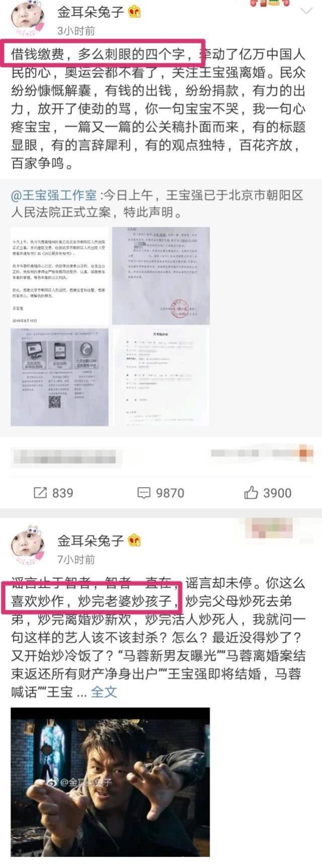 马蓉晒账单锤王宝强 称其故意卖惨博得网民同情