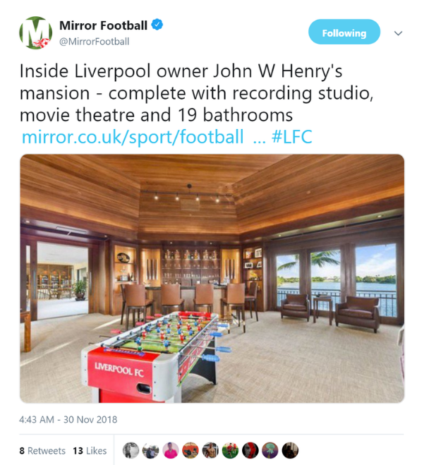 利物浦老板要卖美国豪宅  售价约2000万镑