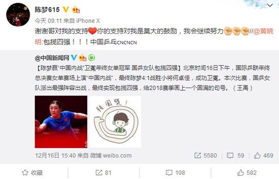 黄晓明祝贺表妹夺冠 陈梦回复:谢谢哥的支持