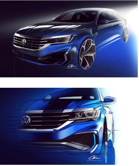 美版大众全新Passat预告图发布 2019年北美车展首发