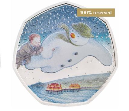 英国国家银行发行《雪人》出版发行40周年彩色纪念银币