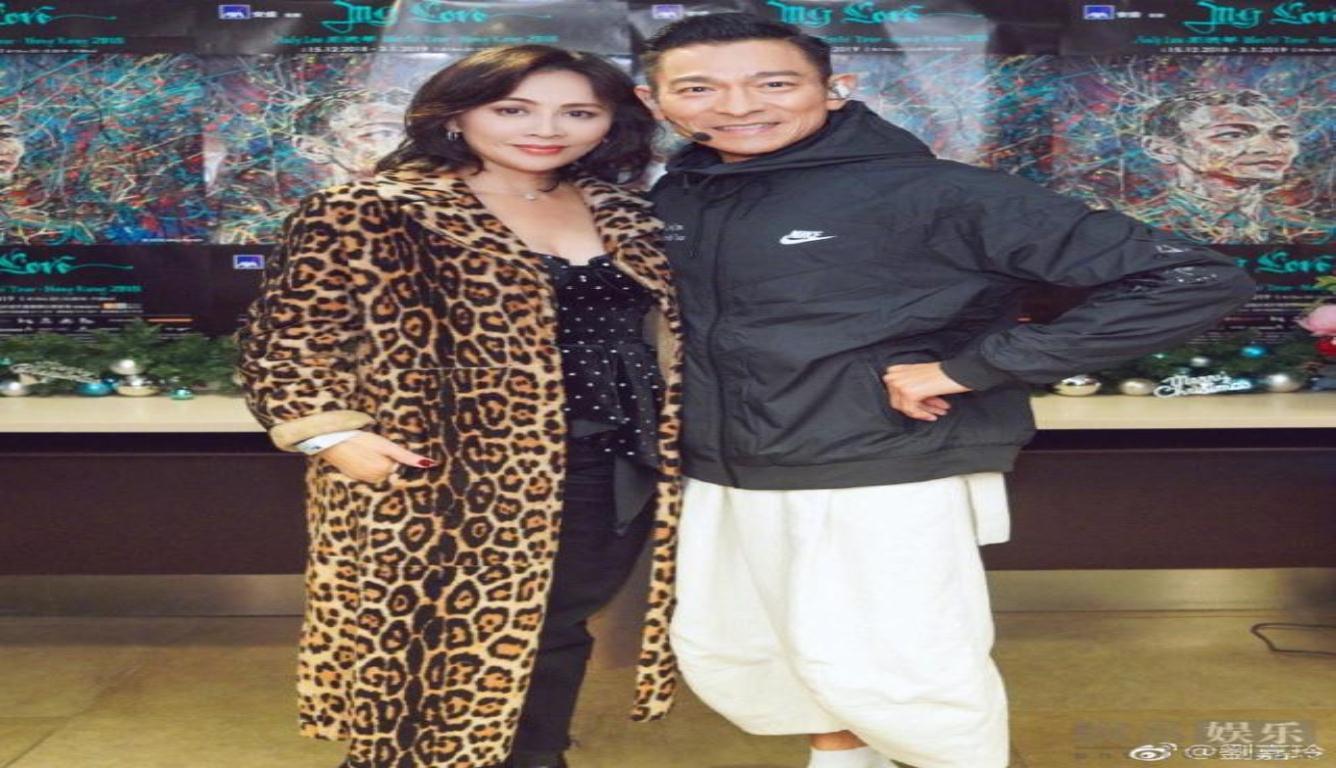 刘嘉玲现身刘德华演唱会 身穿豹纹外套气场十足