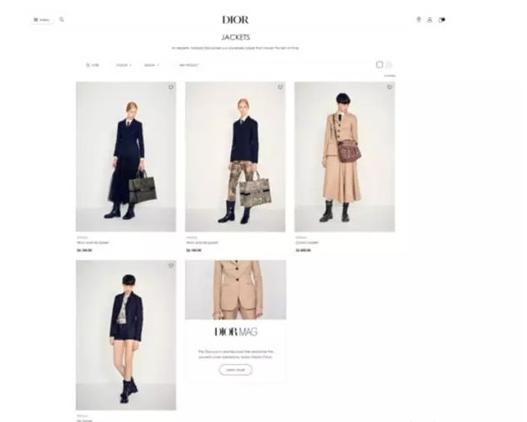 奢侈品牌Dior推出全新官网 首次在线上卖女装