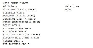 MSCI指数新纳公司 美团点评与小米入内