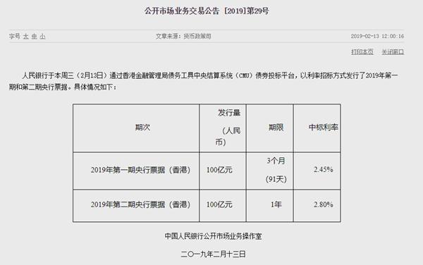 中国央行再次在香港发行央票 中标利率明显回落
