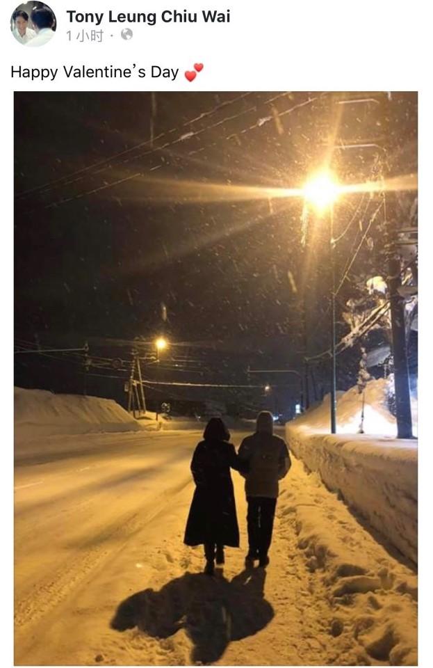 梁朝伟罕见秀恩爱 与刘嘉玲挽手雪中漫步