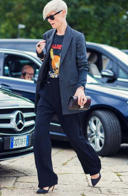 阔腿裤有上线 搭配干练西装霸道女总裁气质挡不住