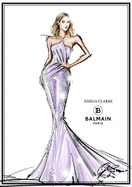 Emilia Clarke身着镶嵌施华洛世奇水晶的礼服现身红毯
