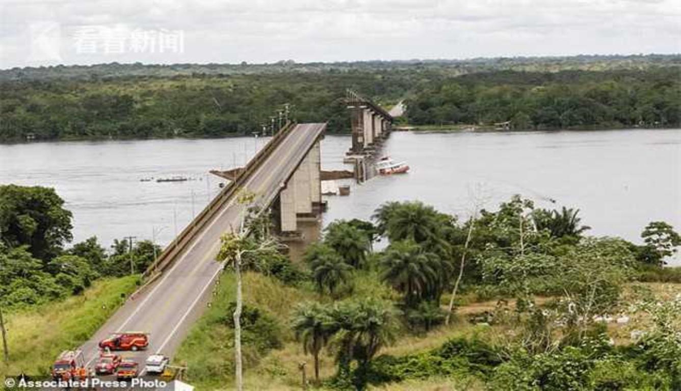 巴西桥梁遭货船腰斩 伤亡人数目前无法得知