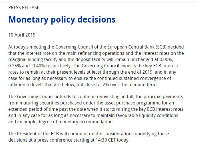 欧洲央行按兵不动 未提定向长期再融资操作