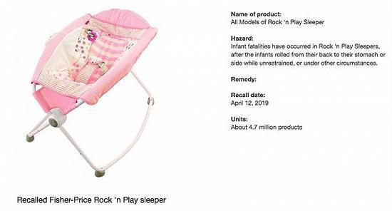 美国费雪召回婴儿摇床 中国消费者购买可无条件退货