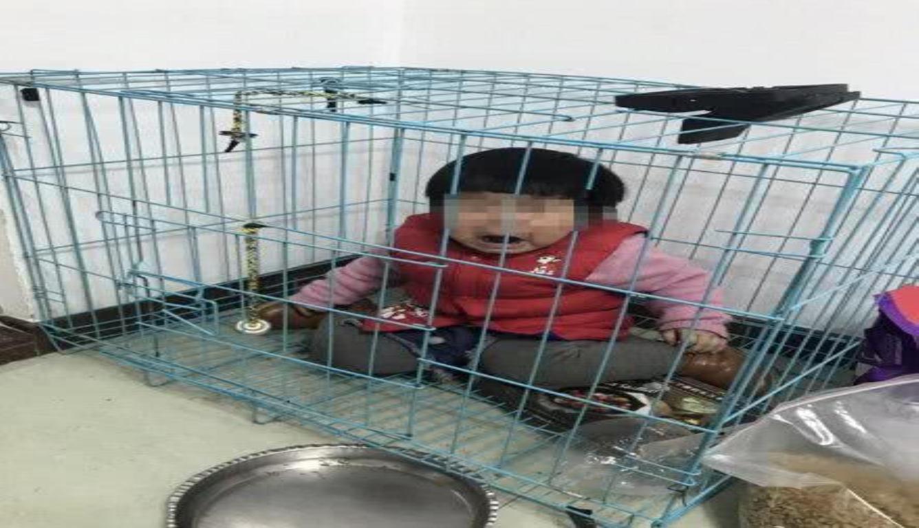将女童关笼中摆拍 目的是发给女童母亲斗气