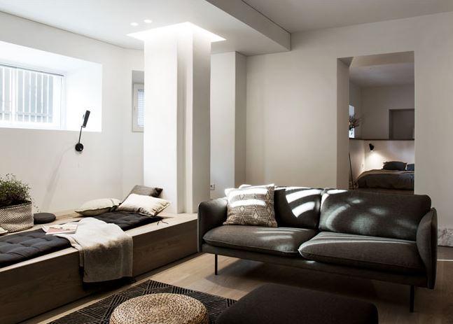 61平米的地下室公寓设计 具有历史感的现代小蜗居