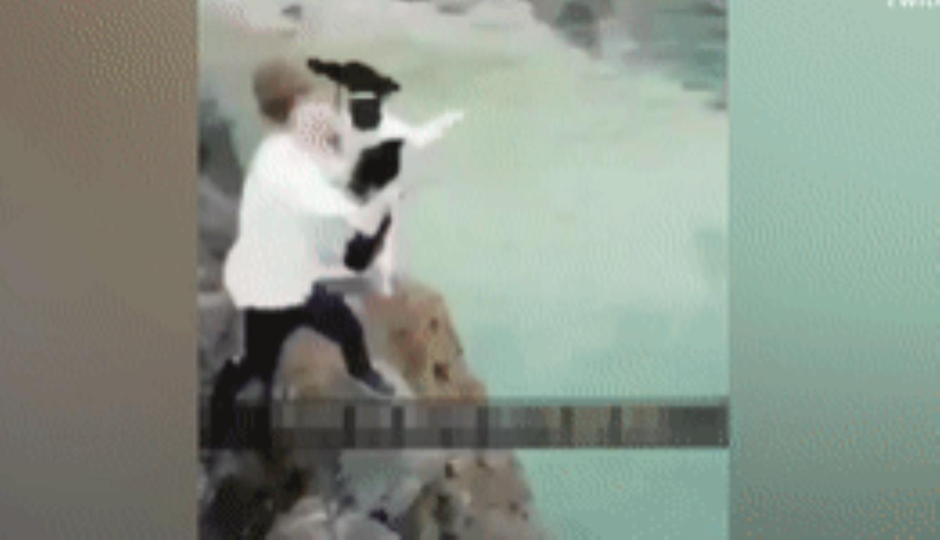 男子海边悬崖扔小狗 其朋友一边拍视频一边大笑