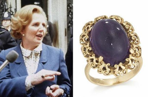 """撒切尔夫人遗物""""就职戒指""""拍出3万英镑高价"""