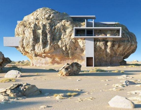 末日生存安身之所?印度设计师将豪宅塞入荒野巨石之中