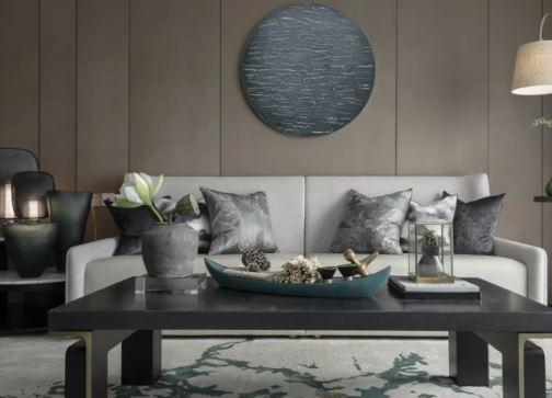 高级灰融合水墨意象 豪宅设计演绎超美新中式!