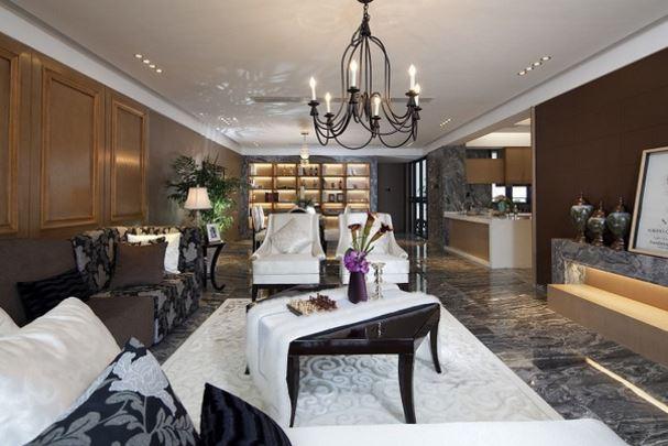 花岗岩装饰现代豪华别墅室内效果图