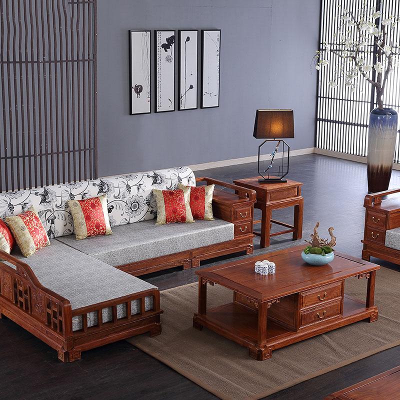 """""""冈州花梨木小户型转角沙发""""一套红木家具多少钱?"""