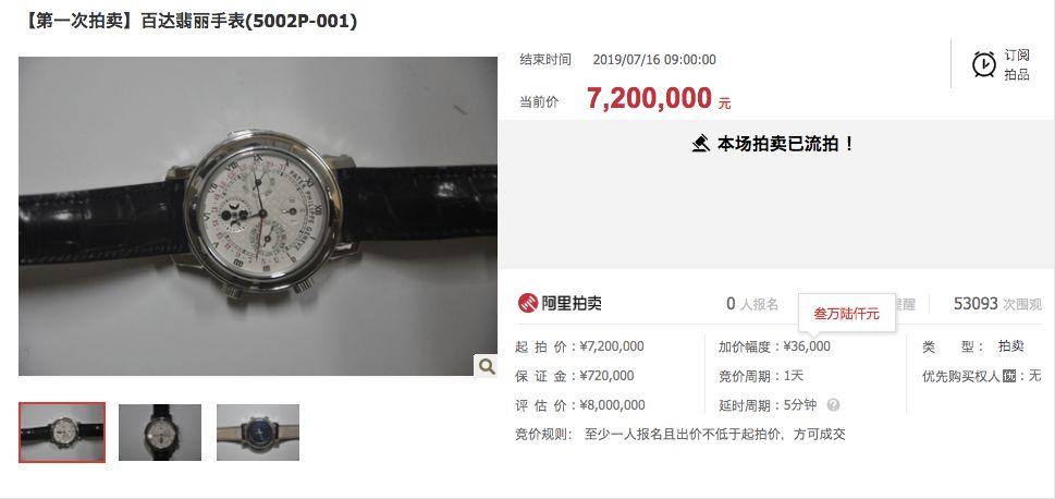 一块百达翡丽手表在某网络拍卖平台拍卖引发关注