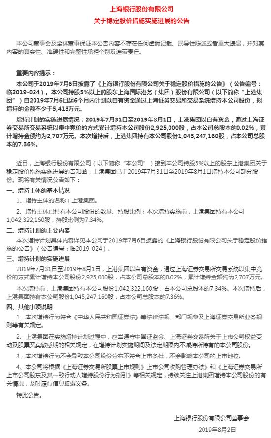 上港集团近日增持上海银行292.5万股
