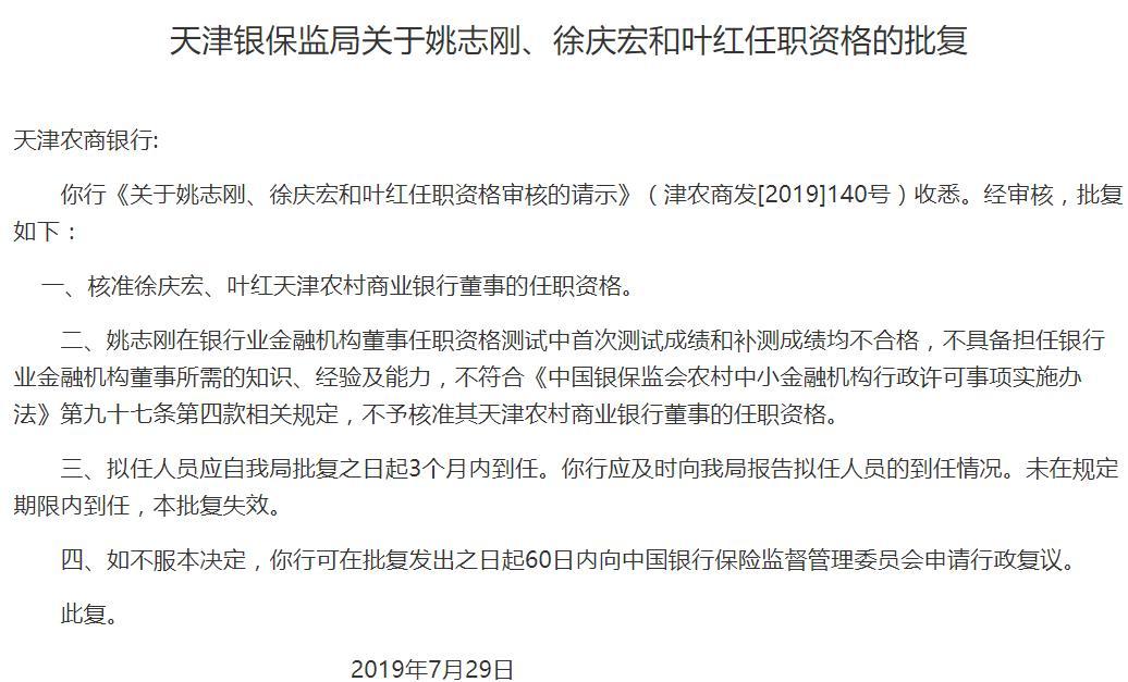 徐庆宏、叶红任职天津农商行三名董事资格获批