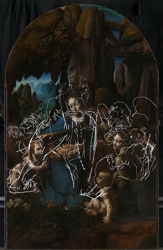 达芬奇画作《岩间圣母》中隐藏的草图
