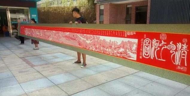 """历时9个月 湖北""""苦哥""""纸刻10米长卷《清明上河图》"""