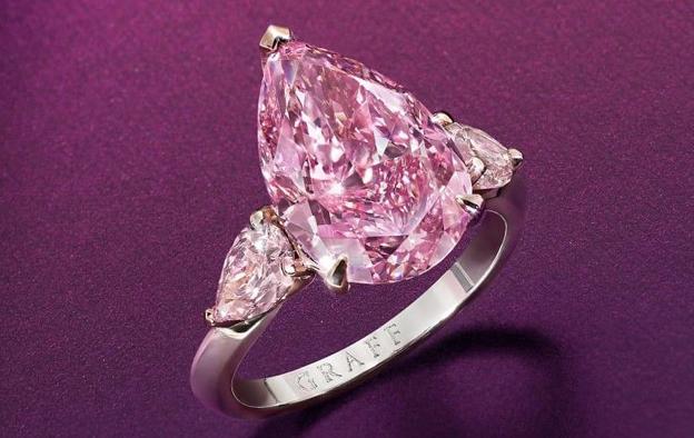 """格拉夫切割完成一颗5.63ct的水滴形紫粉钻""""Lesotho Pink"""""""