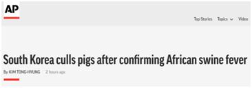 韩国首现非洲猪瘟 所有养猪场被下令停业48小时