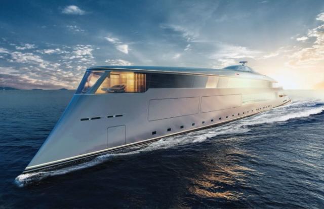荷兰公司Sinot的最新概念Aqua的超级游艇模型在摩纳哥亮相