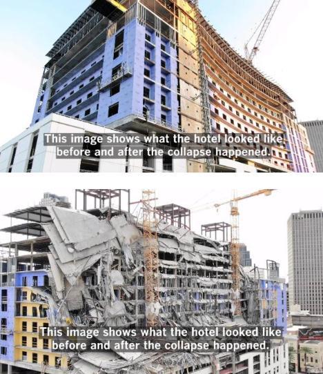 美国在建酒店突然倒塌致1死 目前事故原因尚不清楚