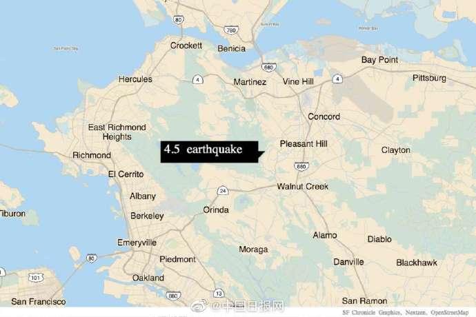 加州发生4.5级地震 整个旧金山湾区有震感
