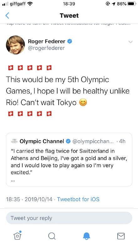 费德勒参加东京奥运会 系经过深思熟虑后的决定
