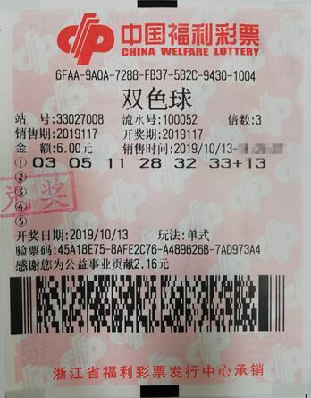 宁波女彩民随意机选击中双色球64万元