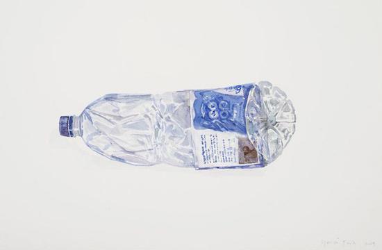 一系列反应塑料废品危险的水彩画在Reflex画廊展出